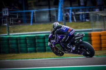 Vinales in accelerazione con la sua Yamaha sulla pista del Sachsenring. Fonte: Vinales Twitter