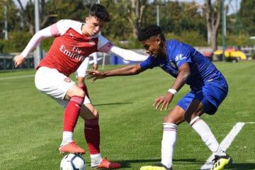 Sam Greenwood (Arsenal). Chelsea U18 3:1 Arsenal U18. Premier Youth League. Chelsea Training Ground. Cobham, 1/9/18. Credit : Arsenal Football Club / David Price.