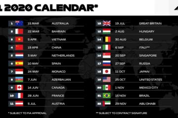 Il calendario provvisorio della stagione 2020 di Formula 1 (foto da: twitter.com/F1)