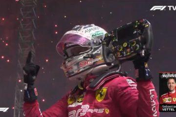 Vettel festeggia la vittoria nel  Gp di Singapore. Fonte: Twitter Vettel