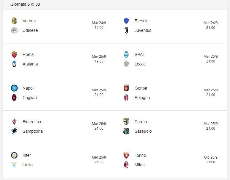 Partite E Arbitri Dazn Sky 5 Giornata Serie A 2019 2020 Inter Lazio A Maresca Stadiosport It