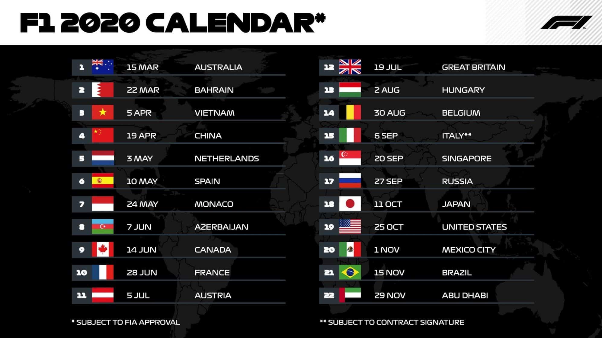 Calendario F1 2021 Orari Oggi Calendario Formula 1 2020: Date e orari Diretta TV dei Gran Premi