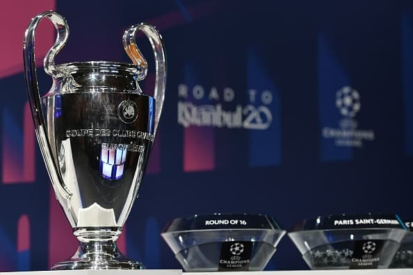 The UEFA Champions League football trophy is pictured prior to the cup's round of 16 draw ceremony on December 16, 2019 in Nyon. (Photo by Fabrice COFFRINI / AFP) (Photo by FABRICE COFFRINI/AFP via Getty Images)