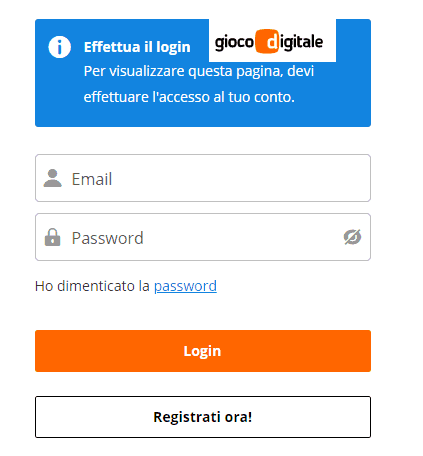 Gioco digitale registrazione account