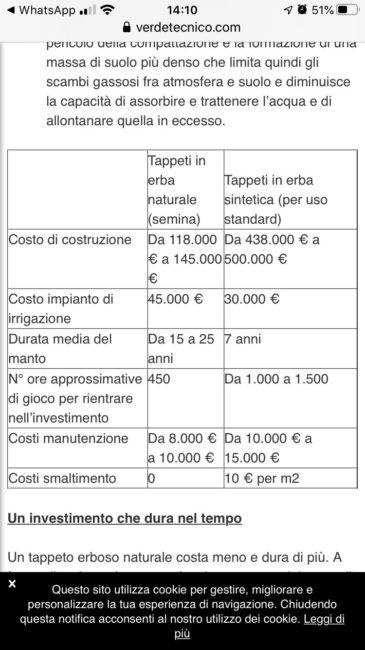 Differenza di costi tra un campo in erba sintetica ed uno in erba naturale