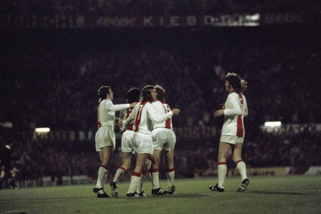 L'Ajax festeggia la vittoria della Coppa dei Campioni nel 1971-72 ai danni dell'Inter