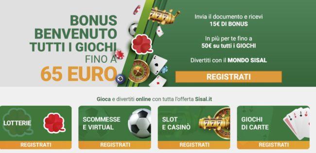 Bonus Benvenuto Sisal Matchpoint 15€ più 50€