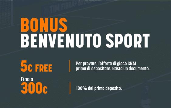 Bonus Benvenuto Snai Sport