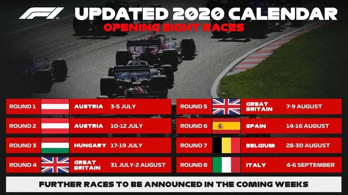 Calendario Gran Premi F1 2020