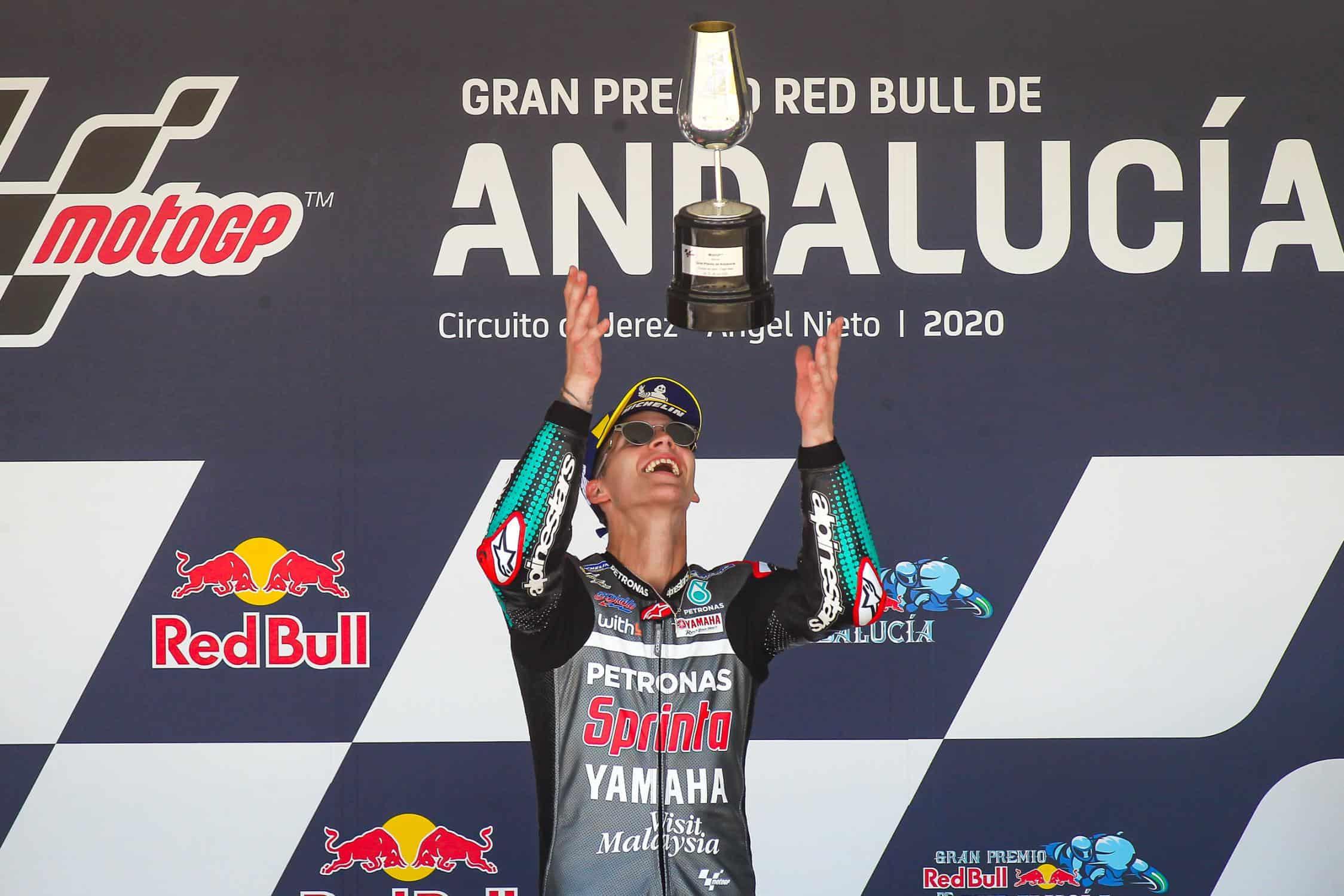 I festeggiamenti di Fabio Quartararo sul podio del GP di Andalusia 2020 (foto da: motogp.com)