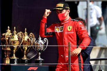La soddisfazione di Charles Leclerc sul podio di Silverstone, dove ha colto un insperato 3° posto (foto da: twitter.com/ScuderiaFerrari)