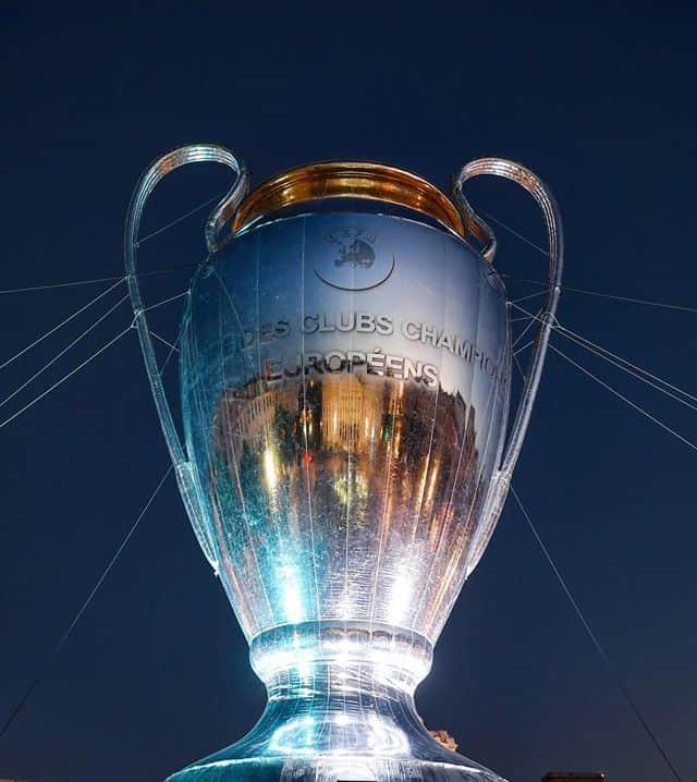 Foto della coppa della Champions League, fonte Facebook