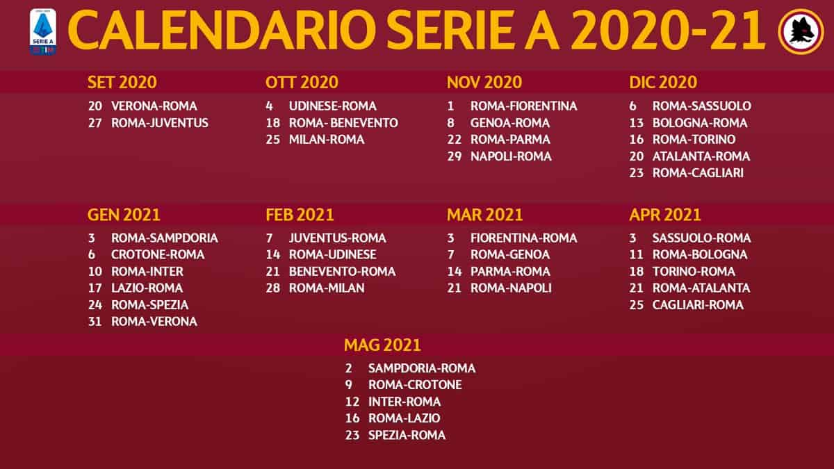 Calendario AS Roma Serie A 2020 2021 | StadioSport.it