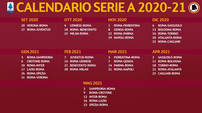 Calendario Partite As Roma 2021 Calendario AS Roma Serie A 2020 2021 | StadioSport.it