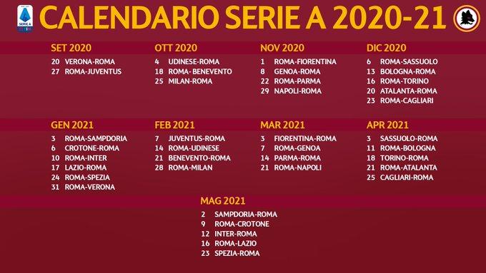 Calendario AS Roma Serie A 2020 2021 | StadioSport.it