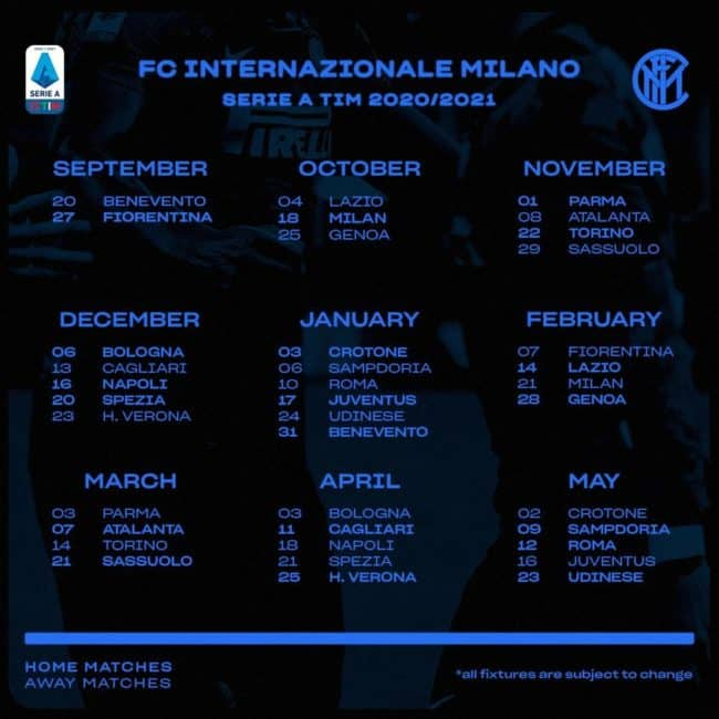 Calendario Inter Serie A 2020 2021 | StadioSport.it