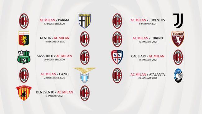 Calendario Milan Serie A 2020 2021 | StadioSport.it