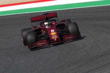 La SF1000 di Sebastian Vettel, con la livrea celebrativa per il GP #1.000, durante la seconda sessione di libere del Gran Premio di Toscana (foto da: twitter.com/ScuderiaFerrari)