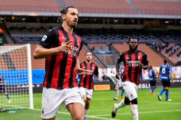 Ibrahimovic esulta nell'ultimo derby milanese