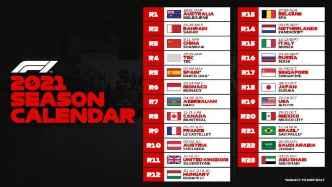 Calendario Mondiali 2021 Ora Italiana F1, ecco il calendario provvisorio della stagione 2021