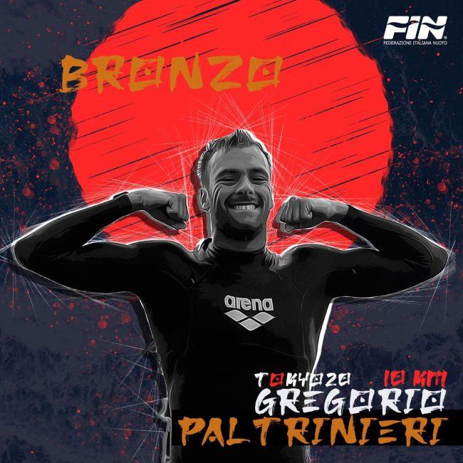 Gregorio Paltrinieri bronzo alle Olimpiadi Tokyo 2021 nella gara di fondo del nuoto